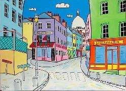 Titre: Montmartre rue Norvins, Artiste: JURIE, Dominique