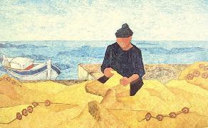 Titre: Les filets sur le port, Artiste: Sanjosé, Elena