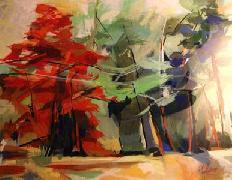 Titre: Paysage au Hêtre Pourpre, Artiste: Collienne, René