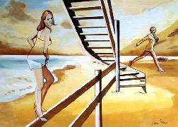 Titre: Deux femmes à l'escalier, Artiste: Van Soens, Eric