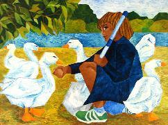 Titre: Les oies, Artiste: Sanjosé, Elena