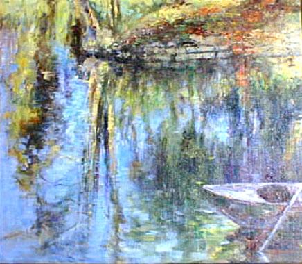 Titre: Reflets dans l'eau à Franc-Waret, Artiste: Hollanders, Marie-Andrée