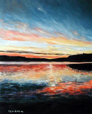 Titre: Coucher soleil Laponie, Artiste: Hervier-Deckers, Yveline