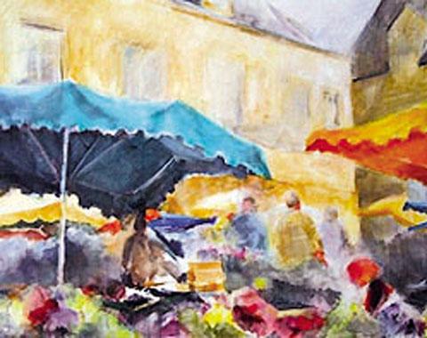 Titre: Marché à Sarlat, Artiste: Maussion-Vinck, Odette