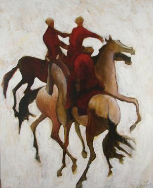 Titre: Trois cavaliers rouges sur blanc, Artiste: Dehareng, Marc