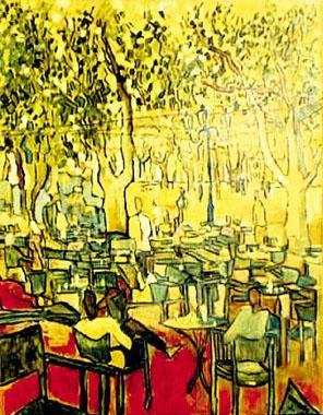 Titre: La terrasse sous les arbres, Artiste: Dehareng, Marc