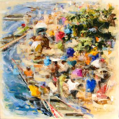 Titre: Arrivée des pêcheurs, Artiste: LAMA, Niankoye