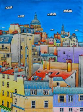 Titre: Toits de Paris Panthéon, Artiste: JURIE, Dominique
