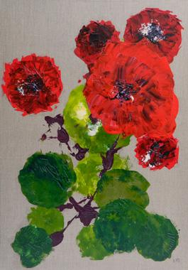 Titre: Bouquet de fleurs rouges, Artiste: MAURESMO, Nathalie