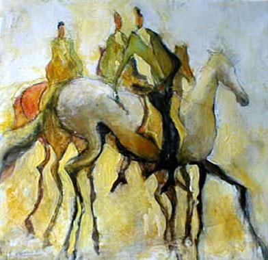 Titre: Trois cavaliers, Artiste: Dehareng, Marc