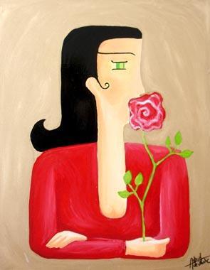 Titre: Femme à la rose, Artiste: de Lastic-Brucker, Astrid