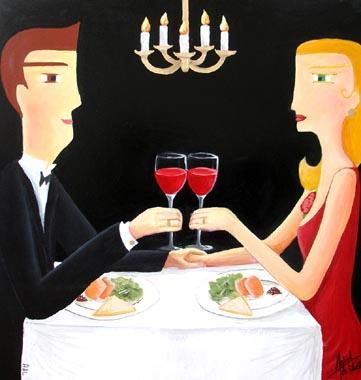 Titre: Le diner, Artiste: de Lastic-Brucker, Astrid