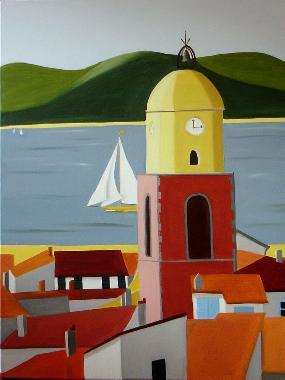Titre: Les toits de St Tropez, Artiste: De Crayencour , Anne-Marie